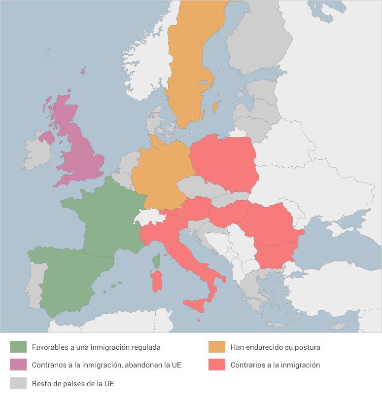 Postura de países de Europa sobre inmigración