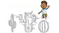 ¡Colorea los cactus!
