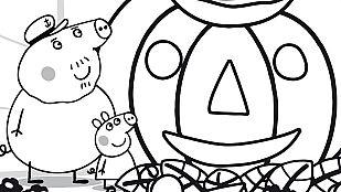 Descargable Colorea la calabaza de Halloween de Peppa