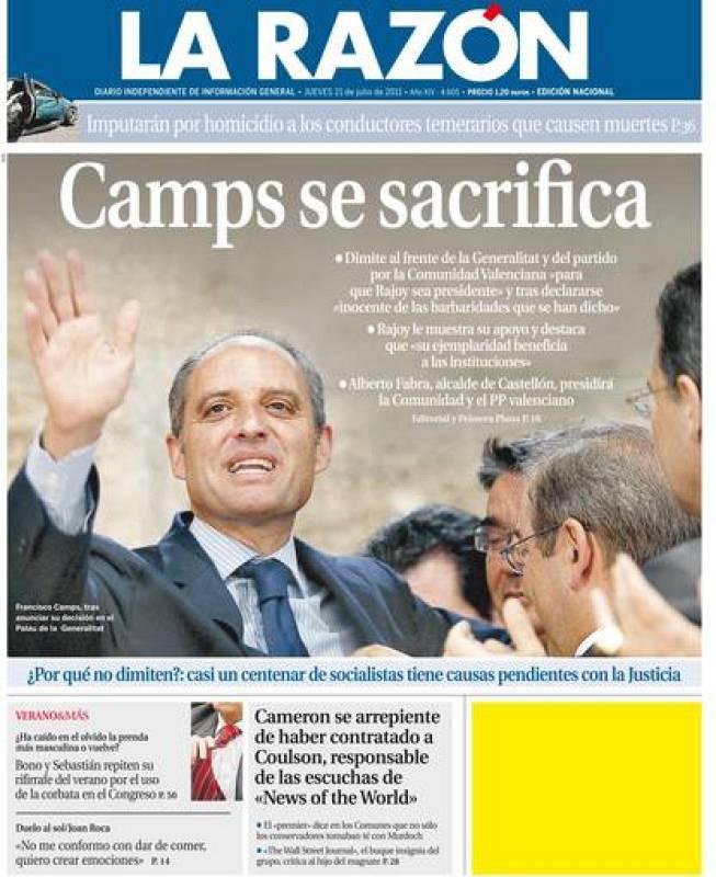 "LA RAZÓN: ""Camps se sacrifica"""
