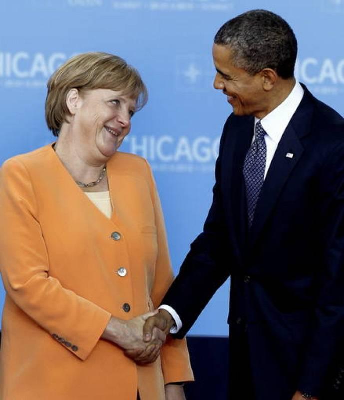 Merkel y Obama en la cumbre de la OTAN