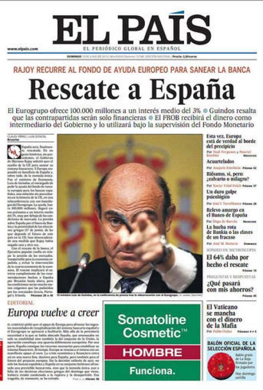 El rescate a la banca española en la portada de 'El País'