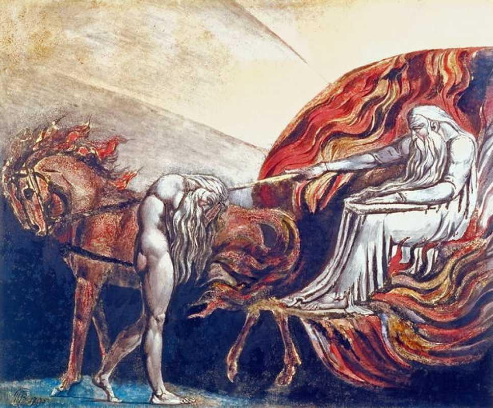 William Blake. Dios juzga a Adán. 1795. Grabado en color acabado en tinta y acuarela sobre papel