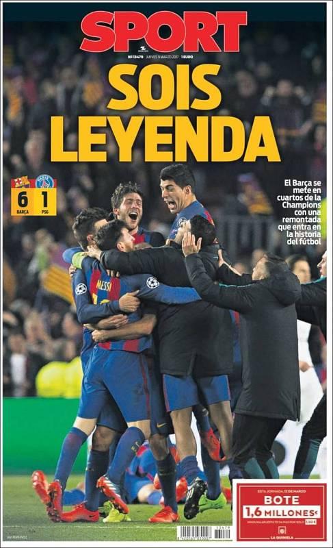 'Sois leyenda', titula el diario deportivo Sport, con una foto de la celebración azulgrana en el césped del Camp Nou a toda página.