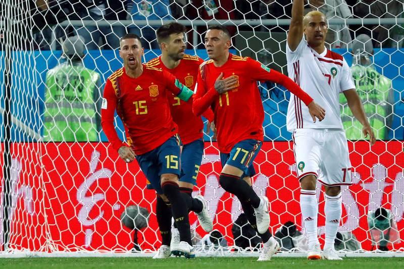 Aspas celebra el gol del empate ante Marruecos, que vale la primera plaza del grupo.