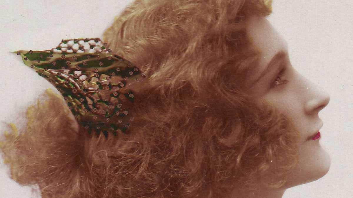 Un peinado en la foto de una postal de época, donde se mandan unas letras