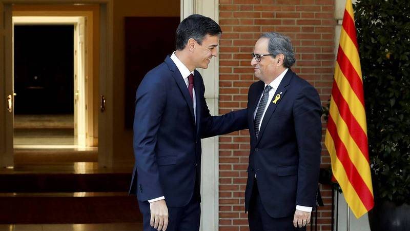 Sánchez recibe a Torra en La Moncloa el pasado mes de julio.