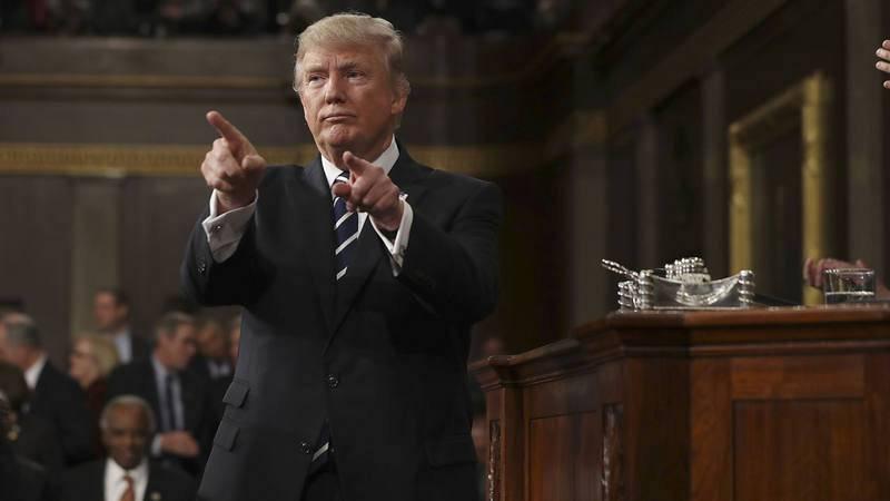 Donald Trump, durante su primer discurso ante el Congreso en 2017.