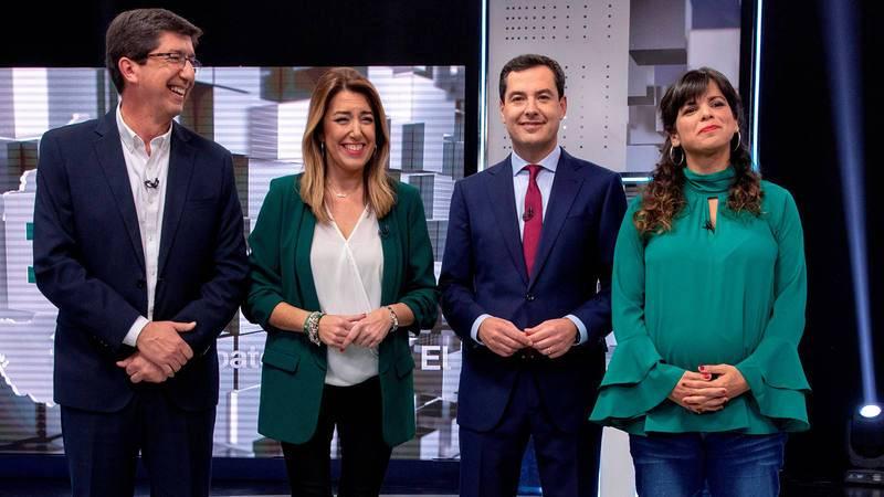 Los candidatos electorales en Andalucía, en su primer debate de campaña.