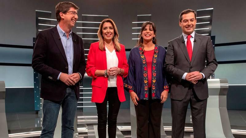 Los cuatro candidatos principales en las elecciones de Andalucía