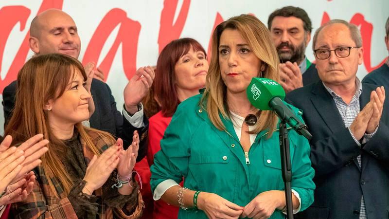 Susana Díaz comparece tras ganar las elecciones en una victoria agridulce.