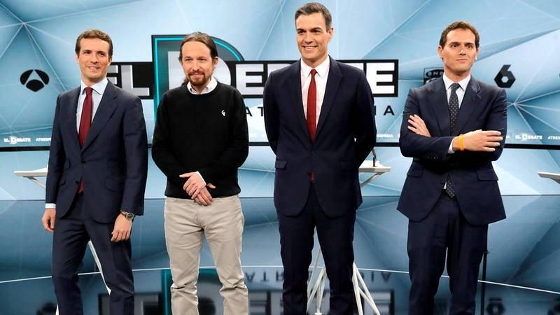 Pablo Casado, Pablo Iglesias, Pedro Sánchez y Albert Rivera, en el debate de Atresmedia