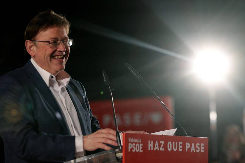 Ximo Puig durante el acto de cierre de la campaña del PSOE para las elecciones generales y las autonómicas valencianas del 28 de abril.