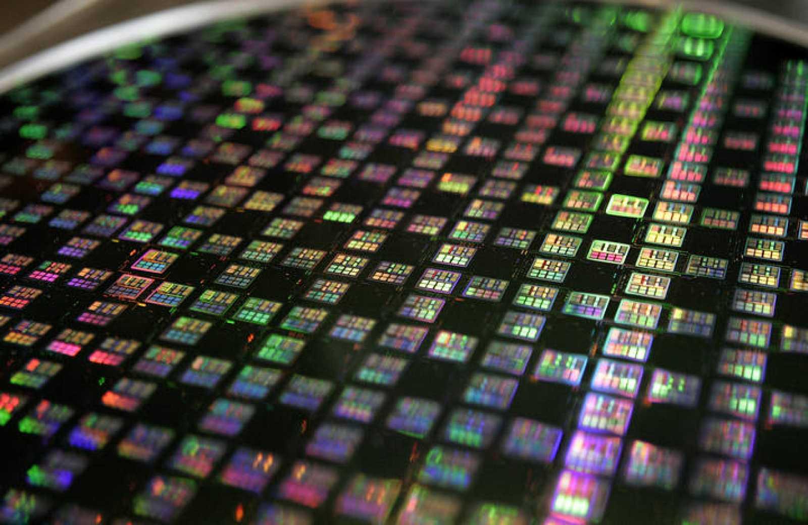 Un grupo de microchips en una compañía de semiconductores de Taiwán.