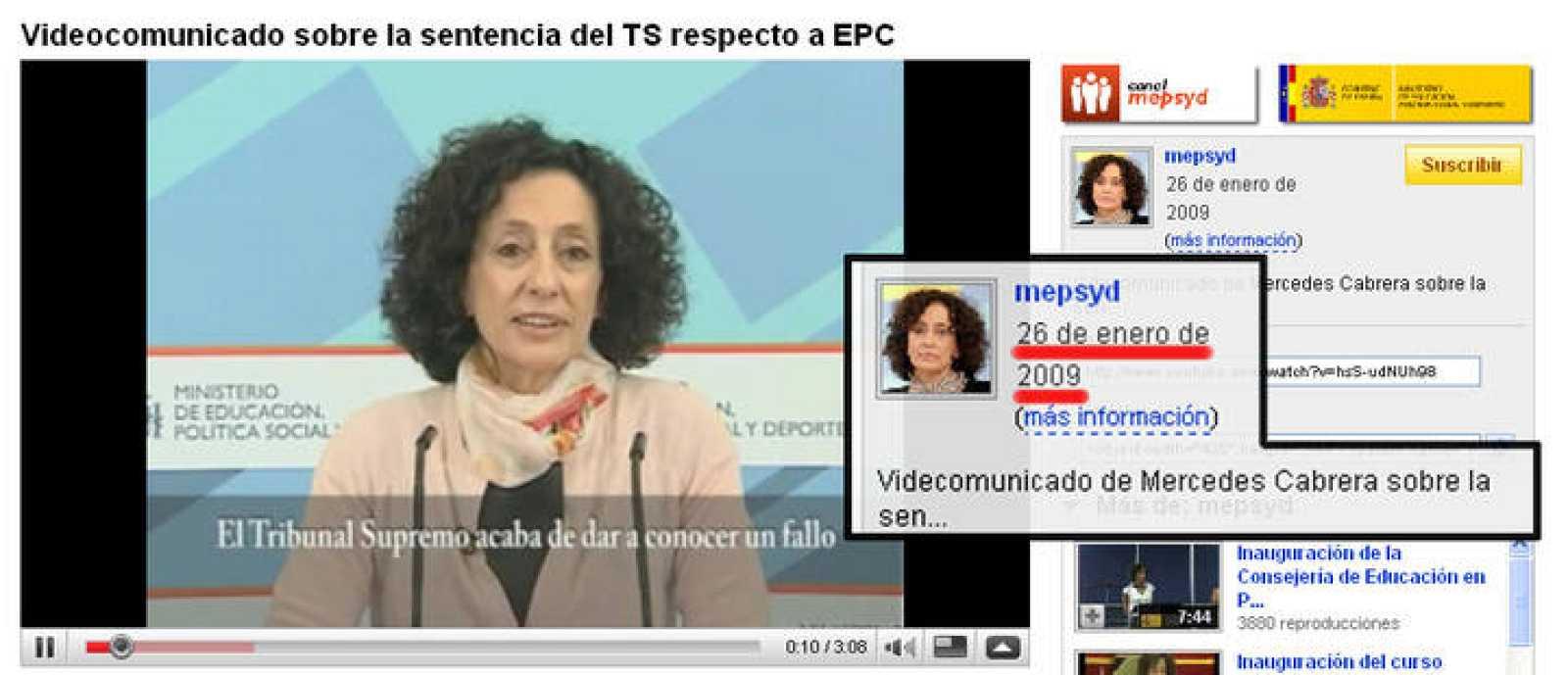 El vídeo de Cabrera que Educación subió a Youtube tiene fecha de 26 de enero, dos días antes de que se conociera la sentencia.