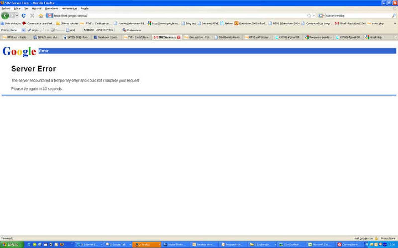 Mensaje de error que aparece en la página de Gmail cuando se intenta acceder al correo electrónico.