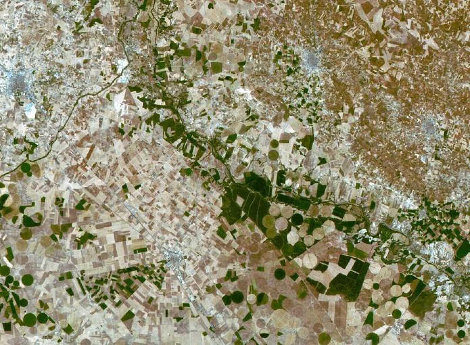 En la imagen aparecen los campos de Castilla-La Mancha y se aprecian plantaciones agrícolas, la localidad albaceteña de La Roda y el río Júcar.