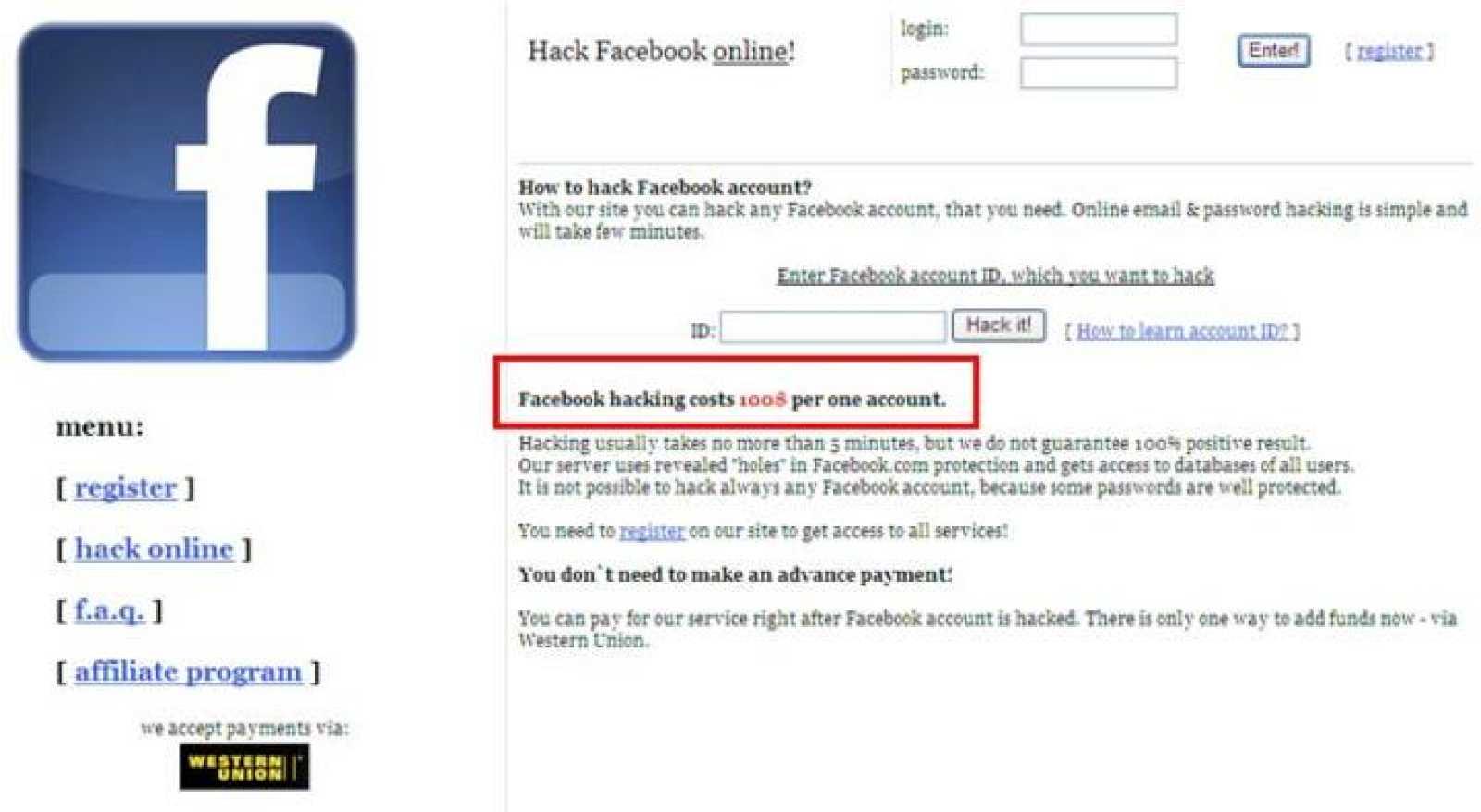 En la web ilegal aseguran poder conseguir las claves de cualquier cuenta a cambio de 100 dólares