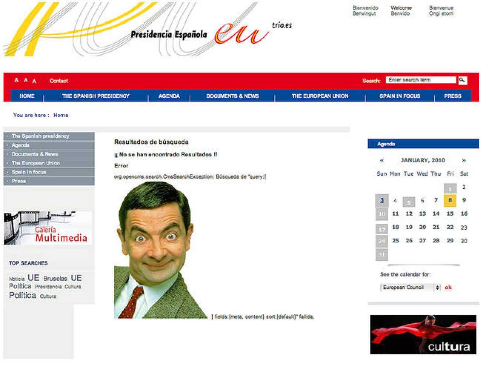 Las redes sociales se han hecho eco del ataque a la web de la presidencia española de la UE, donde han colgado una foto de Mr. Bean.
