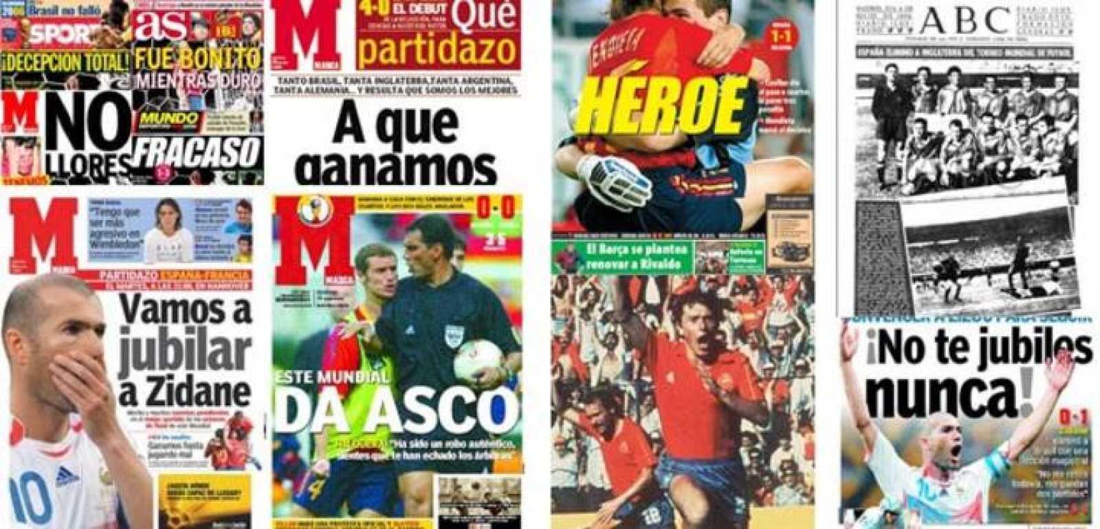 La selección española manda en las portadas de los diarios españoles.