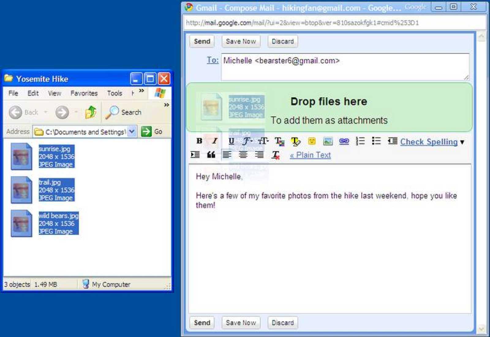 Los archivos pueden incluirse en el correo arrastrándolos al e-mail