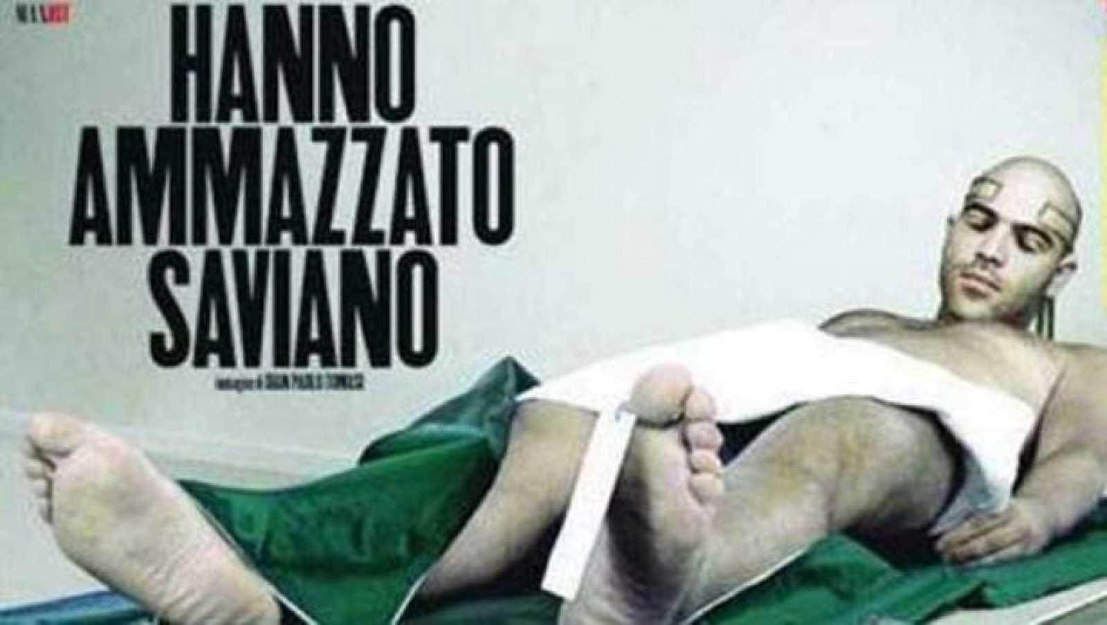La portada de la discordia de la revista Max, donde aparece el cadáver de Saviano.