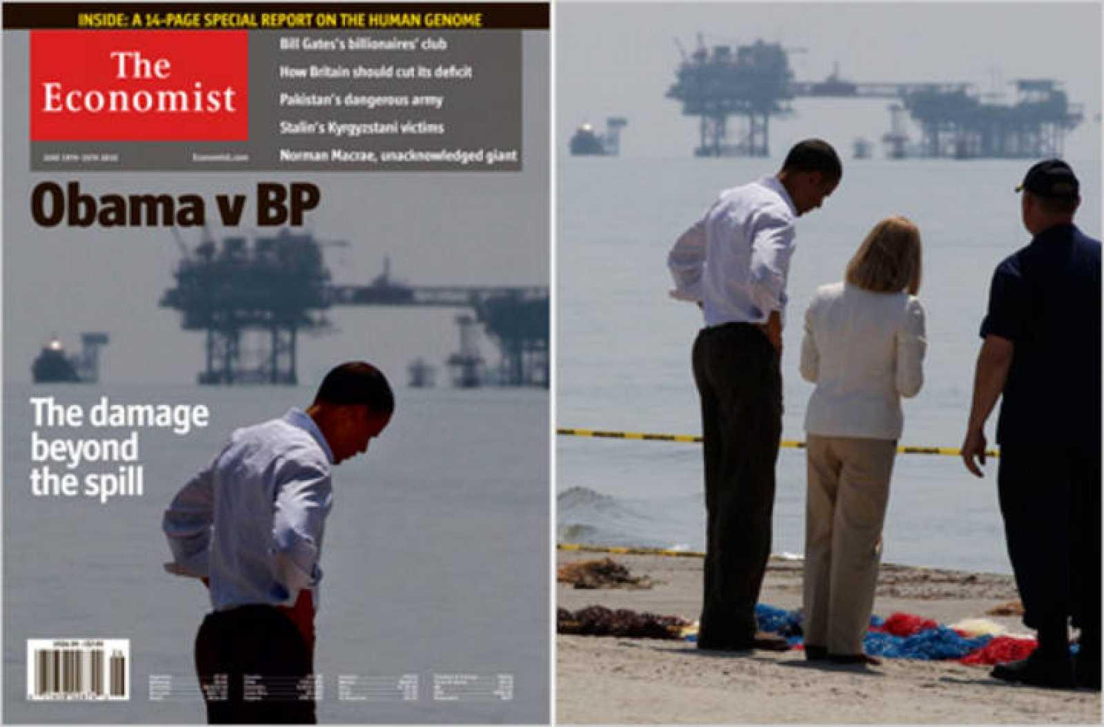 A la izquierda, la portada de The Economist, a la derecha, la original de Reuters