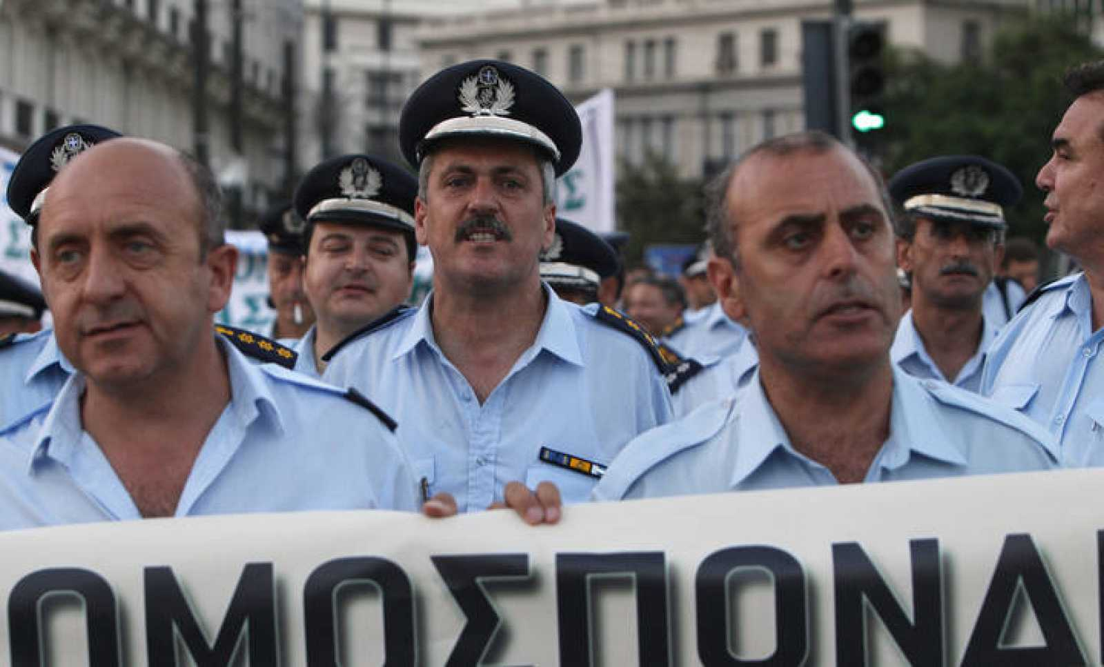 Policeman protest in front of the Parliament during a rally in Athens