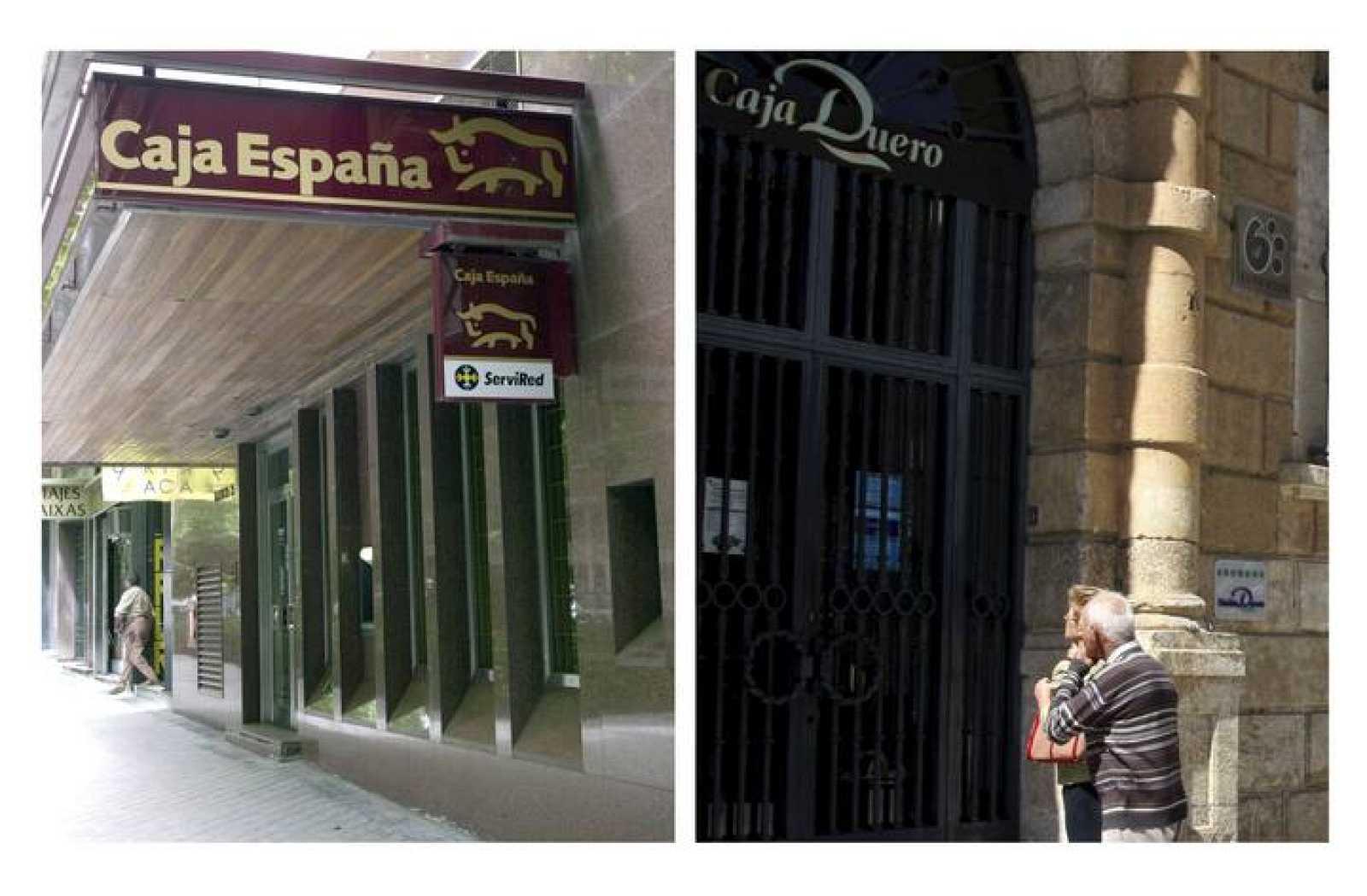 Sucursales de Caja España y Caja Duero. (Archivo)