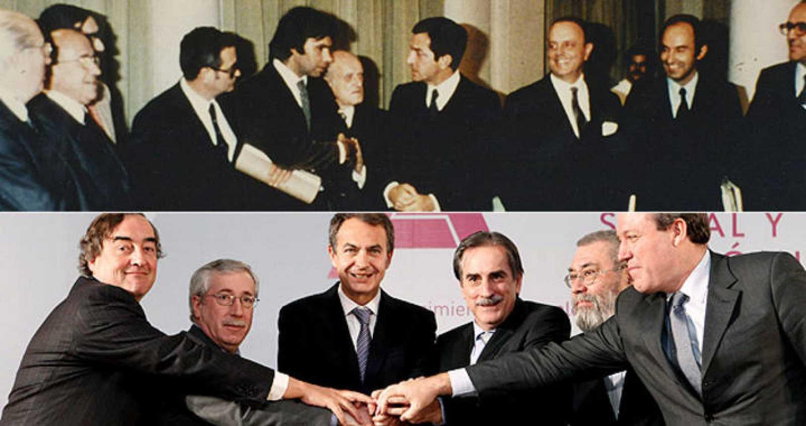 Los Pactos de La Moncloa se firmaron el 25 de octubre de 1977 por todos los partidos políticos. La reforma de las pensiones se ha firmado el 2 de febrero de 2011 en el mismo lugar.