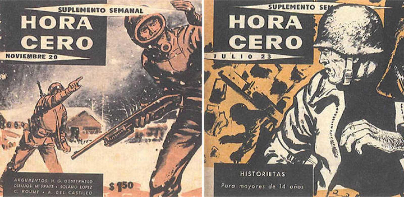 Fragmentos de portadas de 'Hora cero', donde se publicó 'El eternauta', de Oesterheld y Solano López
