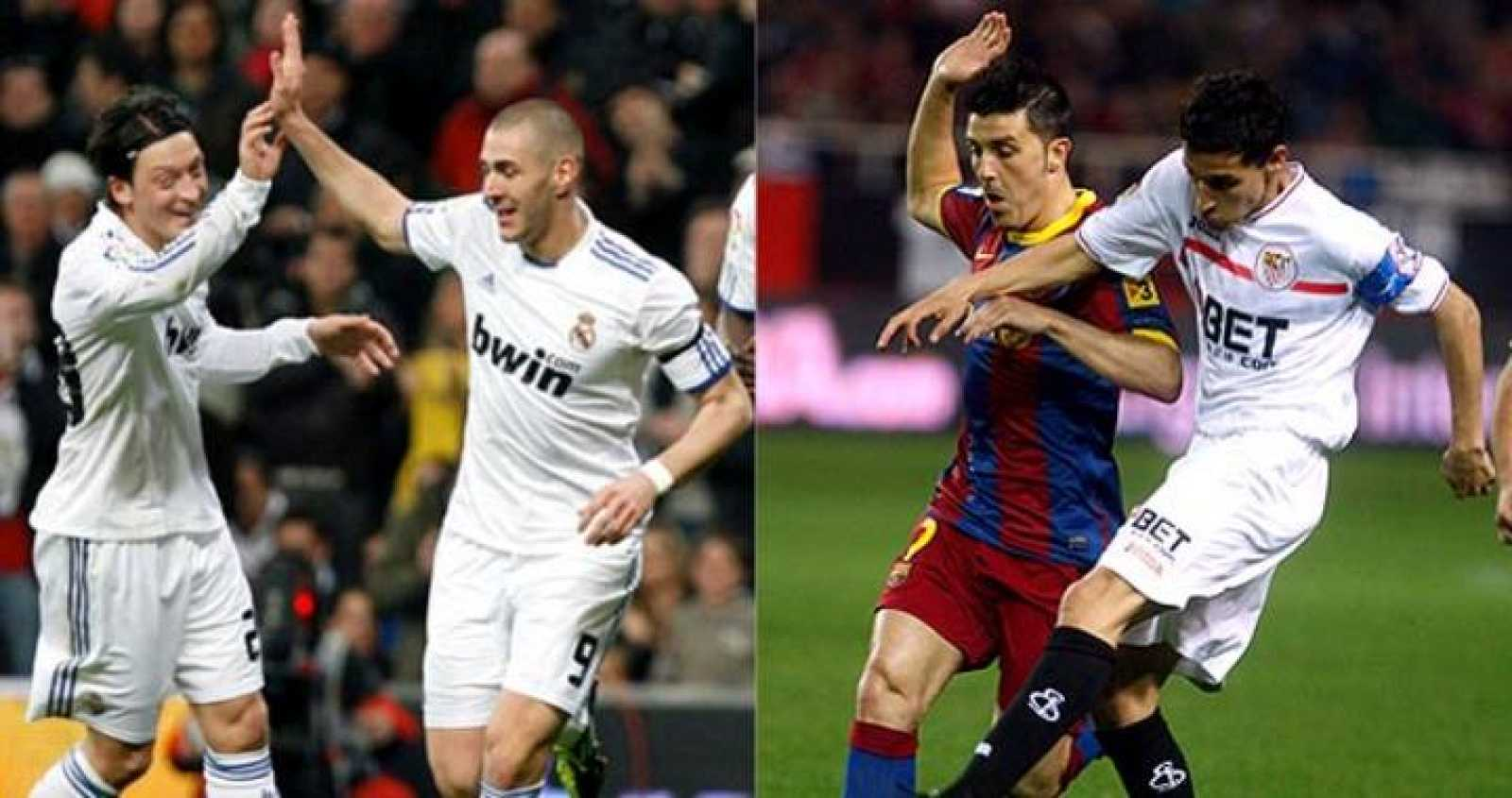 Benzema celebra un gol con su compañero Özil y Navas roba el balón al azulgrana Villa.