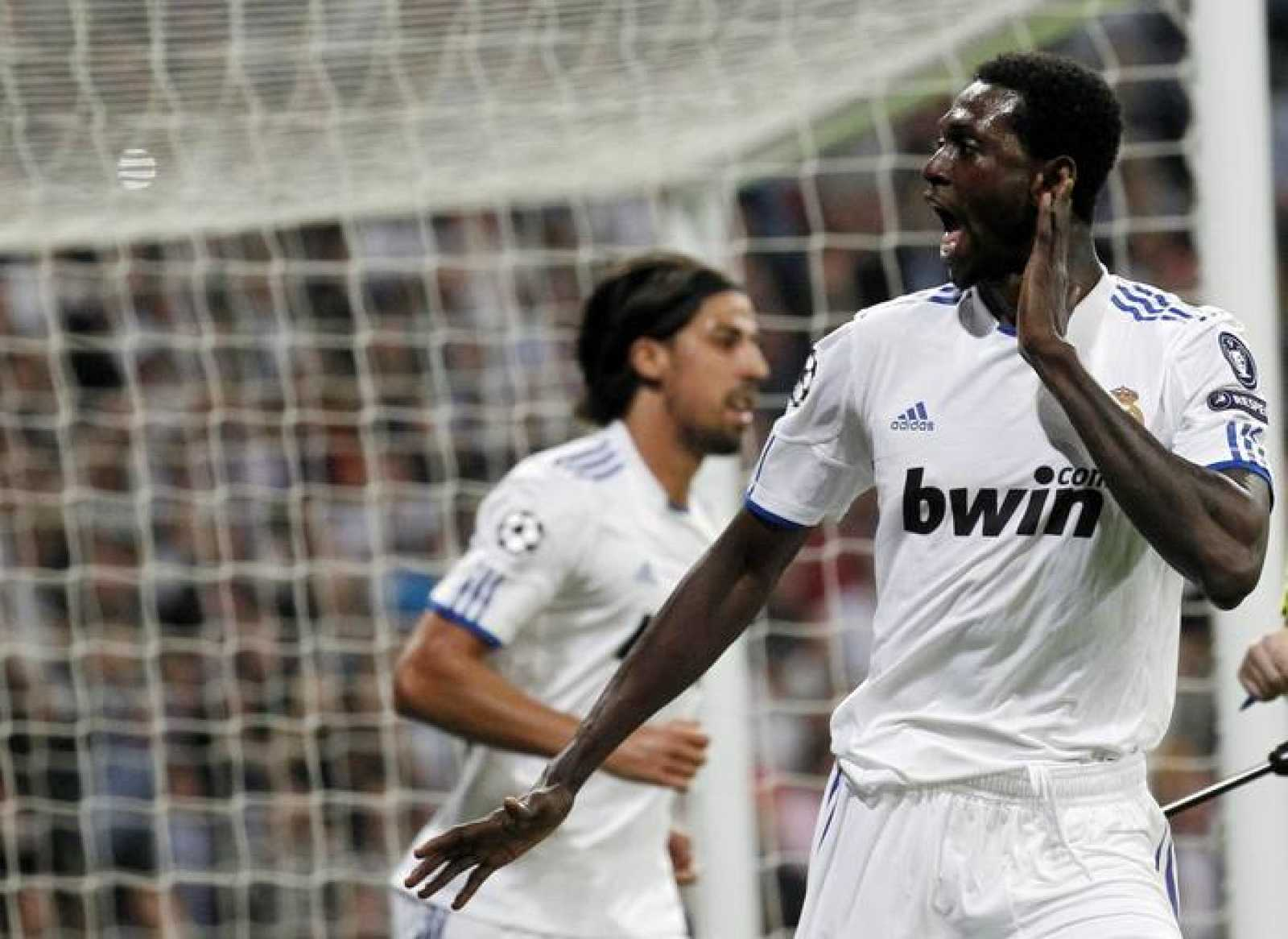 Real Madrid's Adebayor celebrates his second goal against Tottenham Hotspur during their first leg of their Champions League quarter-final soccer match against Tottenham Hotspur in Madrid