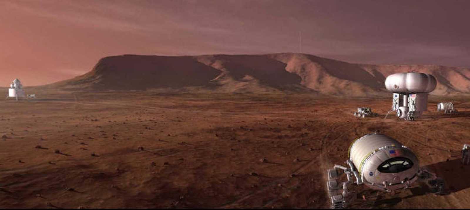 Vehículo de la NASA durante la recreación de una misión marciana