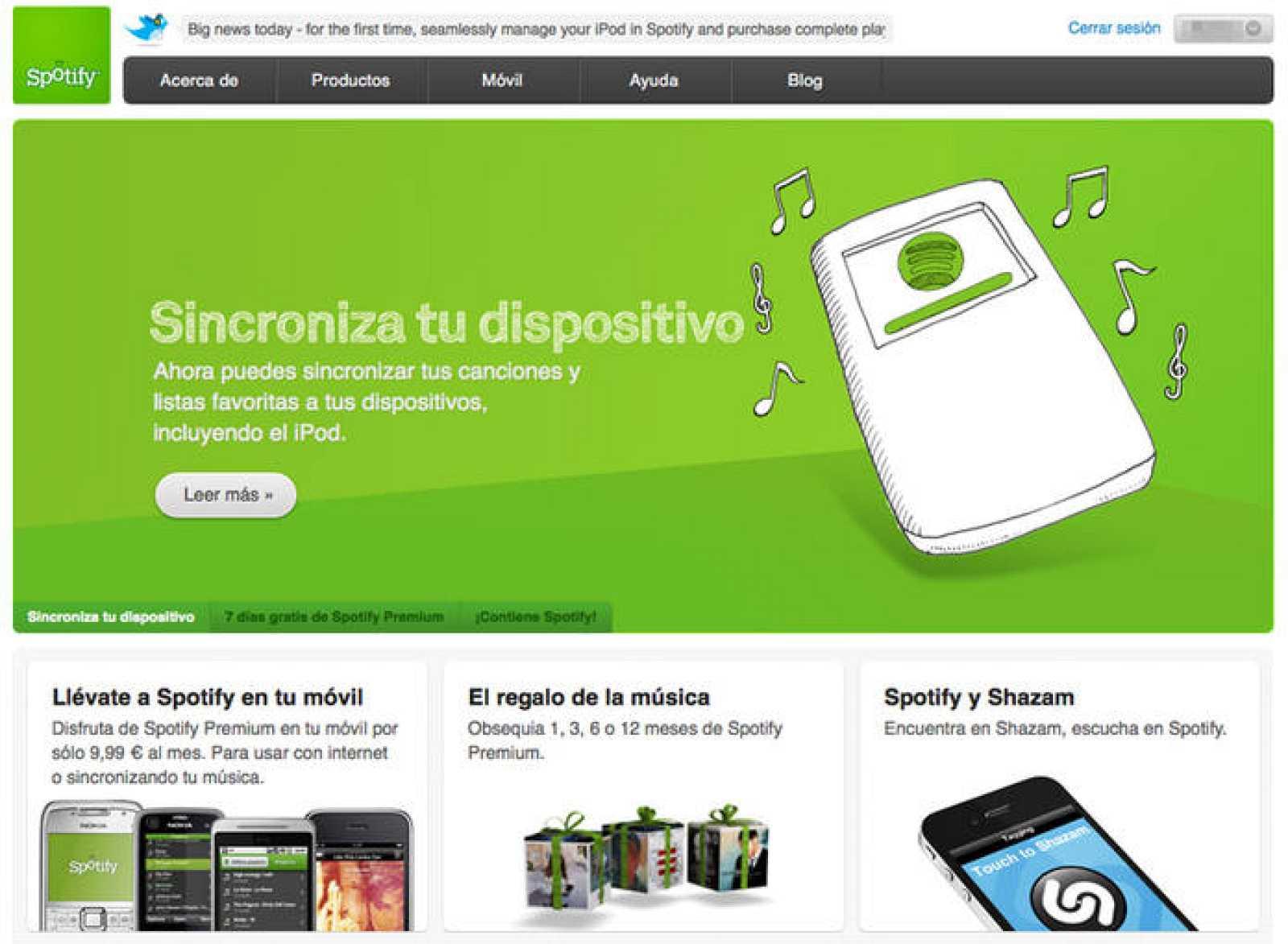 Spotify introduce un servicio de descarga para poder llevar las canciones al iPod