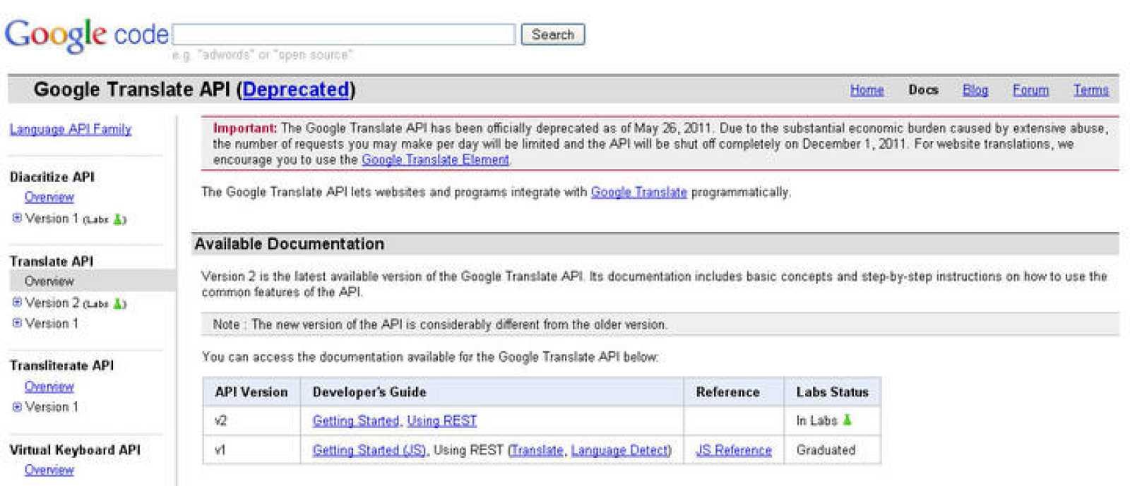 Google ha realizado el anuncio en su blog oficial de código