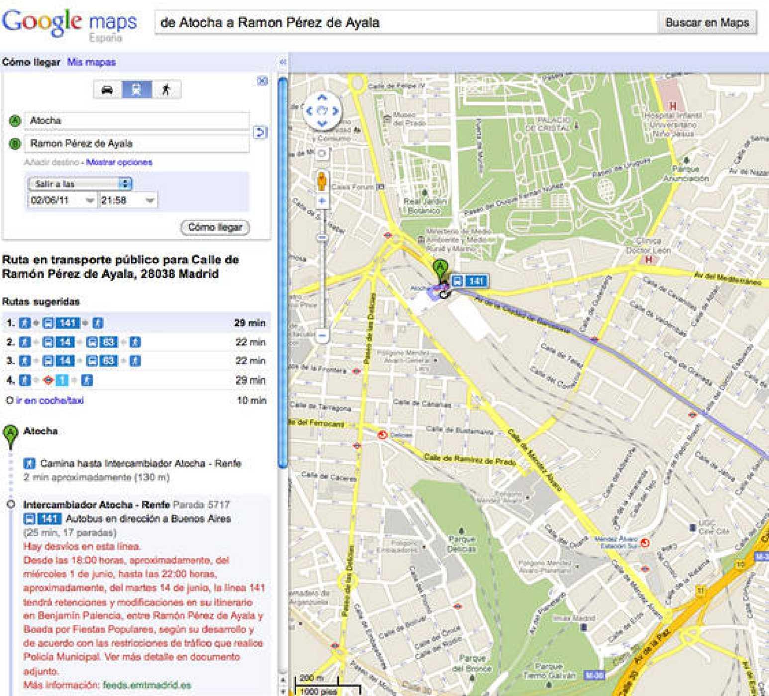 Google Transit ofrece información en tiempo real sobre el transporte público en Madrid