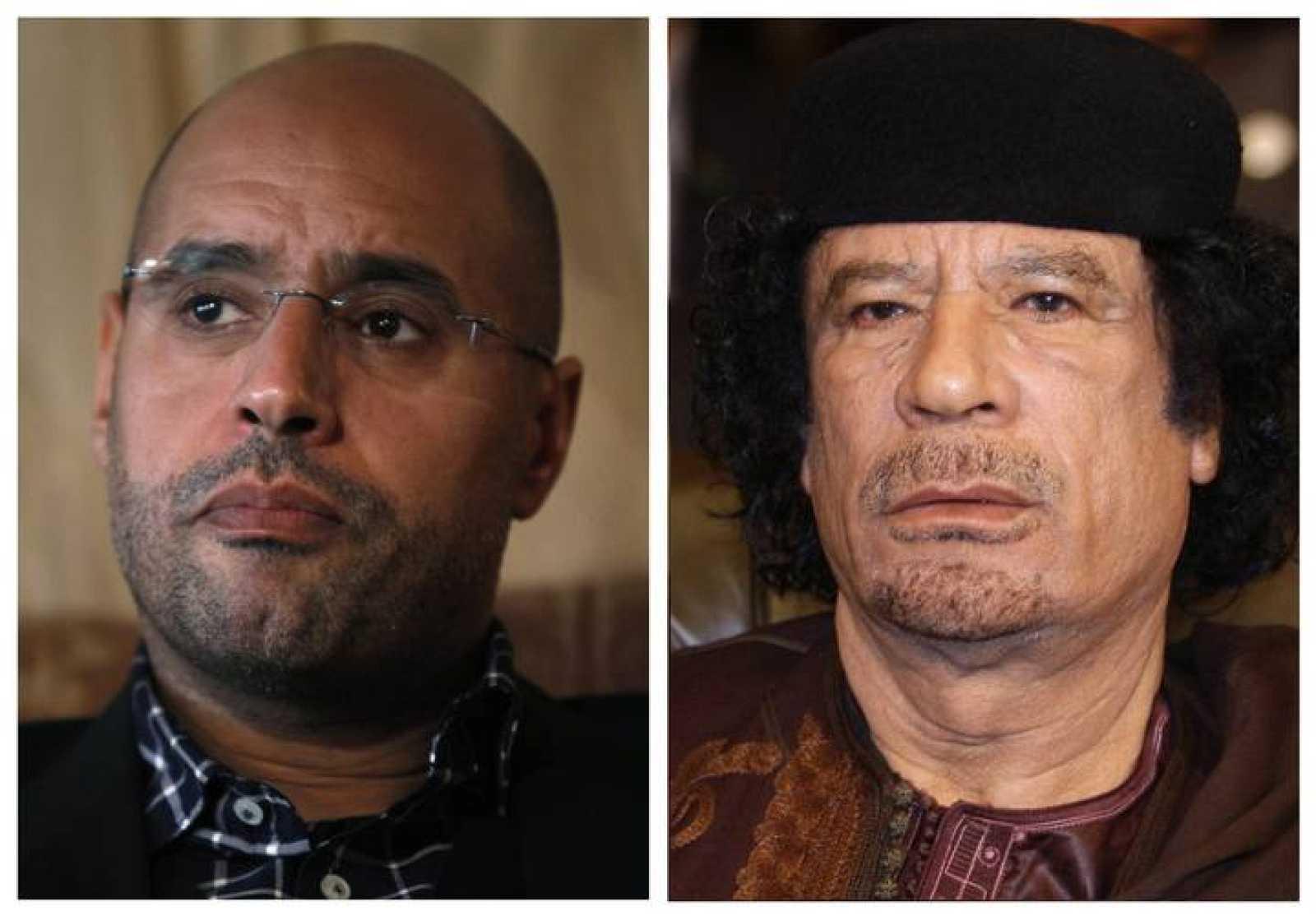 Fotomontaje con las imágenes de Saif al islam y su padre, Muamar Gadafi, acusados por la CPI.
