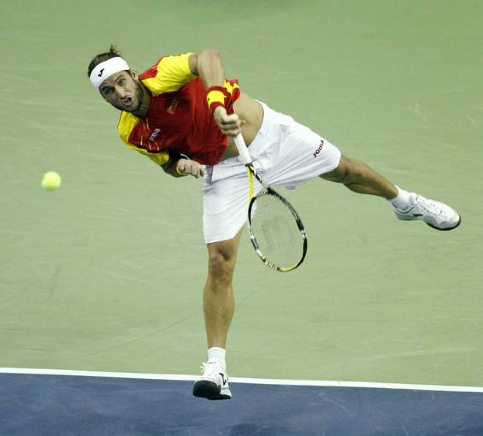 Lopez of Spain serves against Fish of the U.S. during their singles Davis Cup tennis match in Austin, Texas
