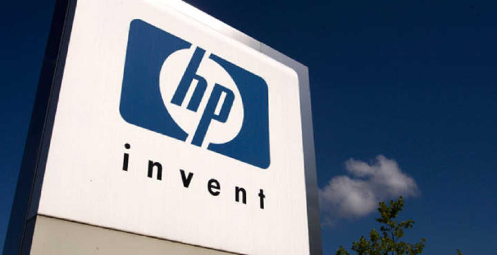 Logo de Hewlett-Packard en sus oficinas internacionales en Ginebra.