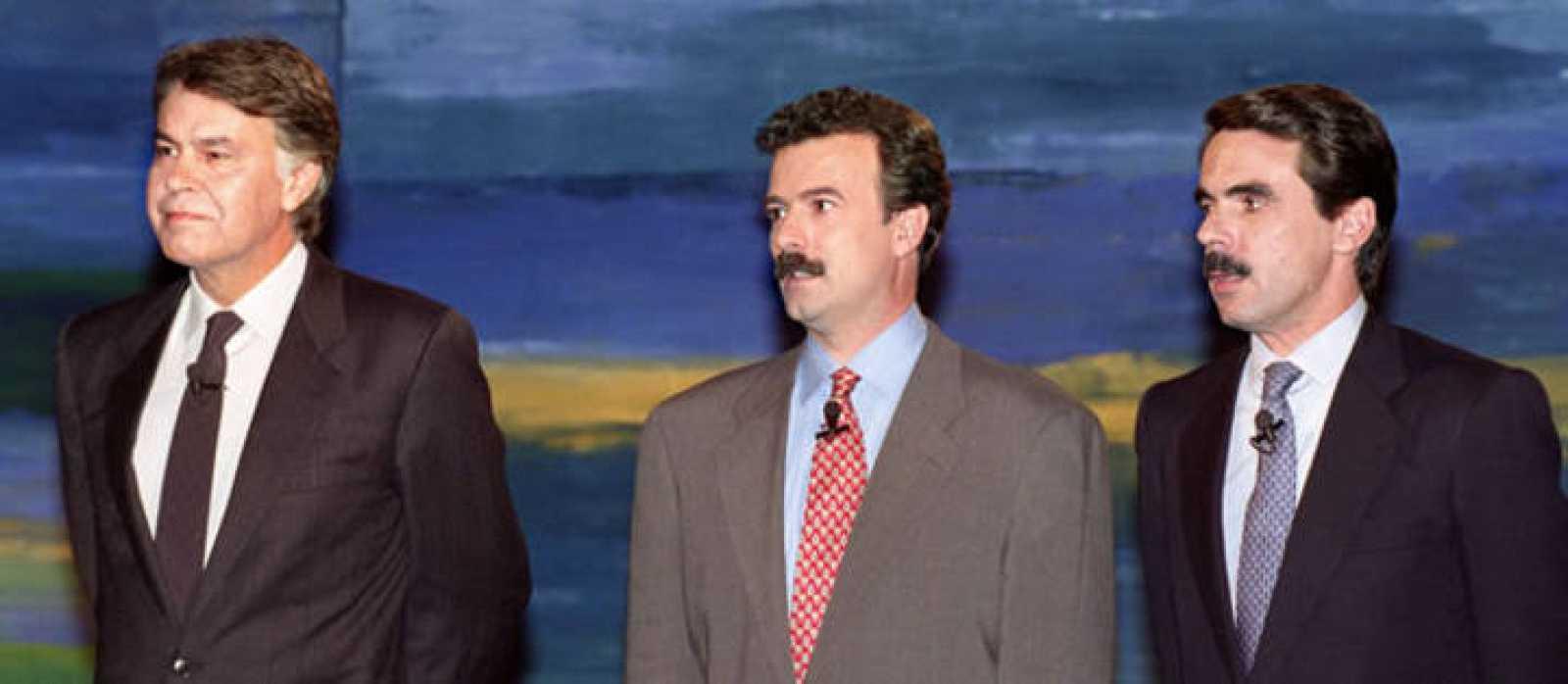 Primer debate televisado entre Felipe González y José María Aznar en 1993.