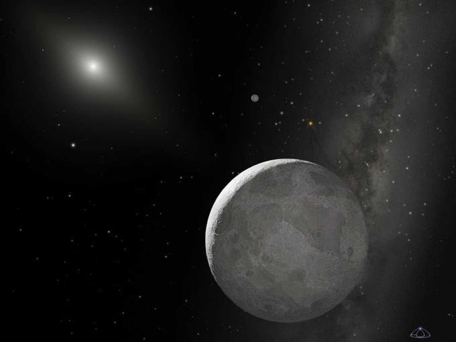 Concepción artística de Eris y su pequeño  satélite Disnomia. La enorme distancia que separa a Eris del Sol hace que éste aparezca tenue