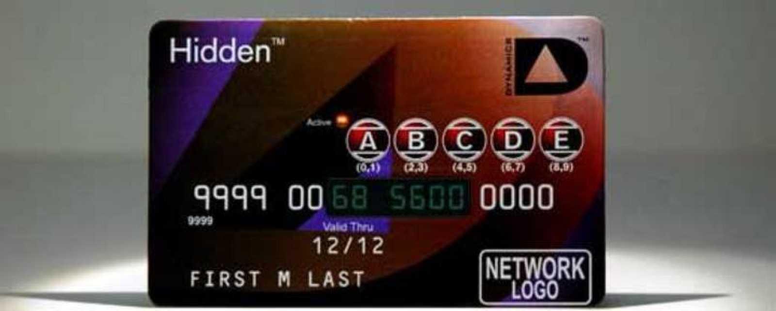 Tarjetas dinámicas con números de un solo uso. Varios de los dígitos han sido reemplazados por una pequeña pantalla luminosa digital