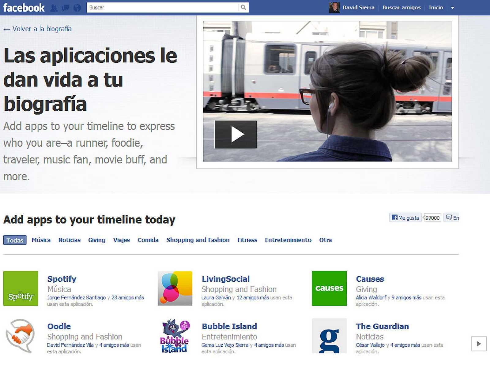 Facebook invita a los usuarios a llenar su 'Timeline' con sus actividades favoritas