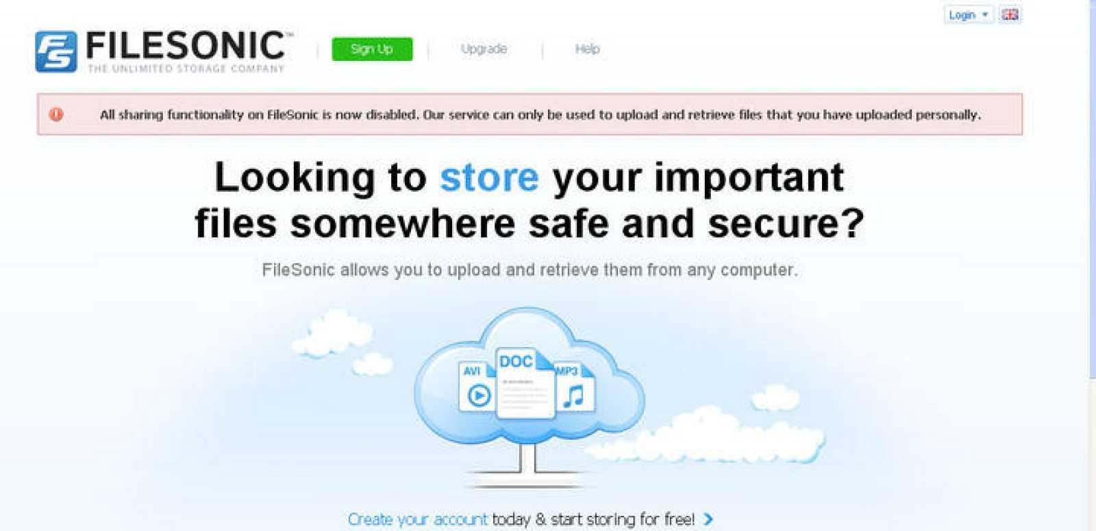 La web Filesonic ha eliminado la opción de compartir archivos