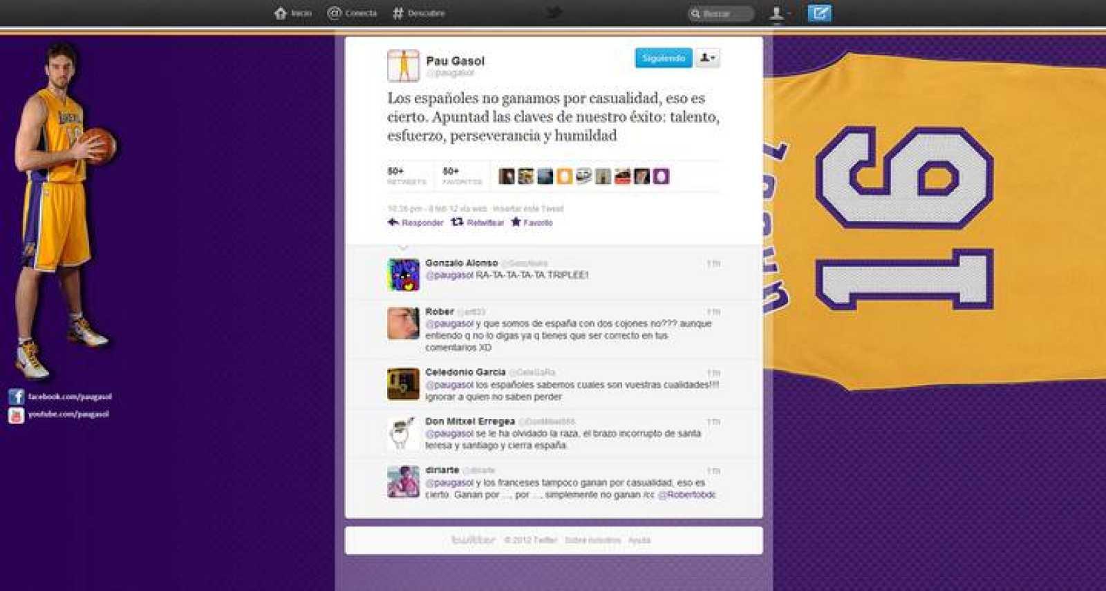 Imagen del comentario de Pau Gasol en Twitter