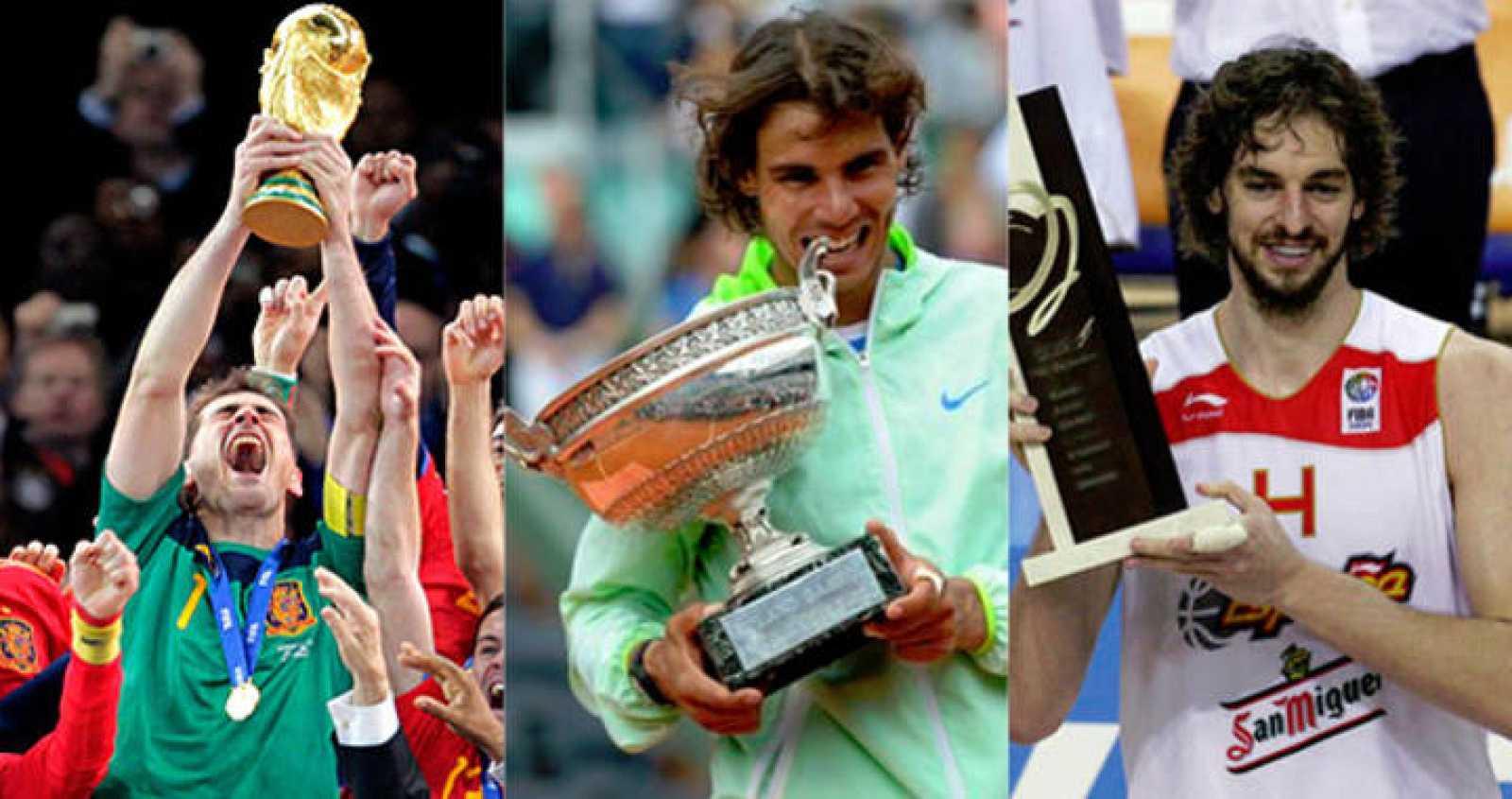 Casillas, tras ganar el Mundial 2010; Nadal, con uno de sus seis Roland Garros; y Gasol, después de lograr el último Europeo de Baloncesto.