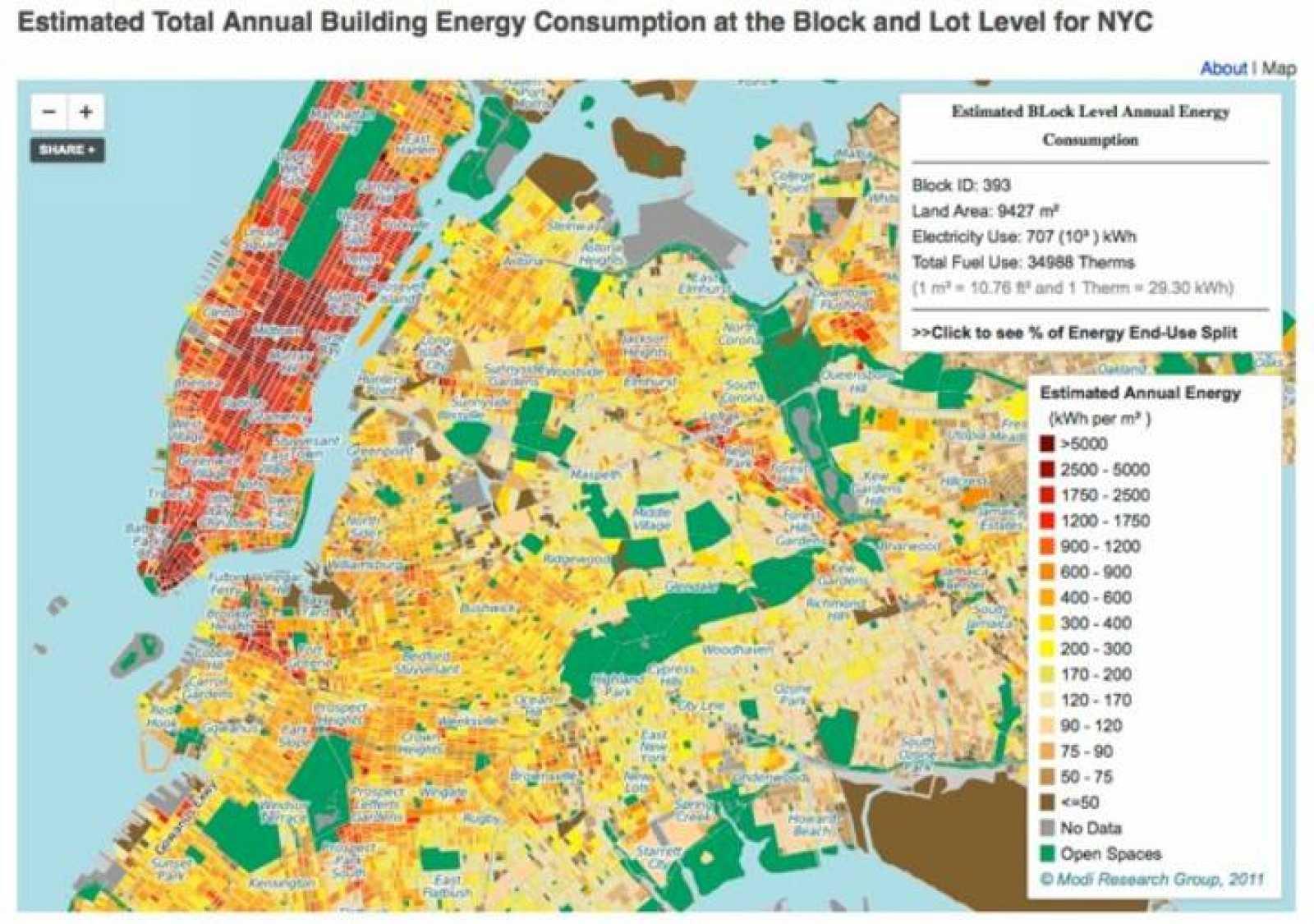 La ciudad de Nueva York, con sus grandes barrios, fue la elegida para la creación del mapa interactivo.