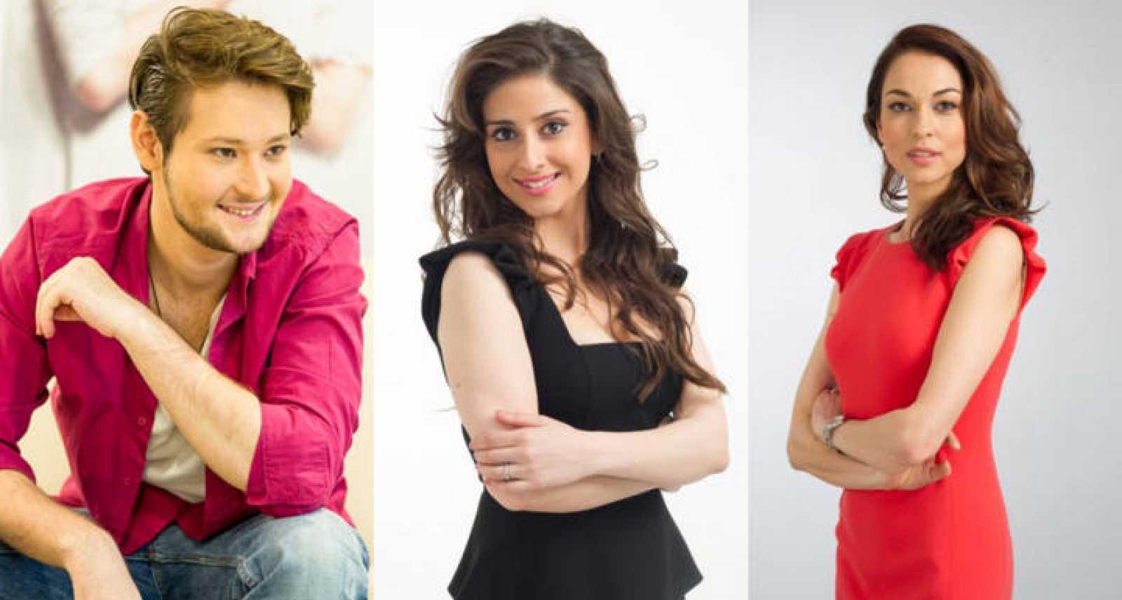 De izquierda a derecha: Eldar, Nargiz y Leyla, presentadores de Eurovisión 2012