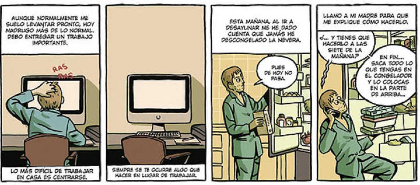 Viñetas de 'Un hombre en pijama', de Paco Roca
